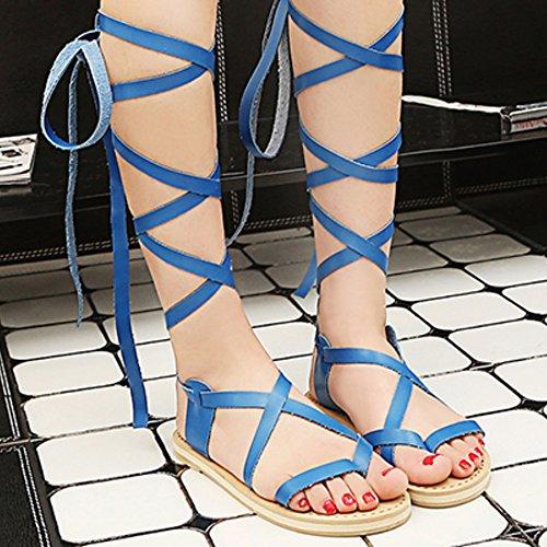 COOLCEPT Damen Mode Schnurung Sandalen Open Toe Flach Schuhe Blau