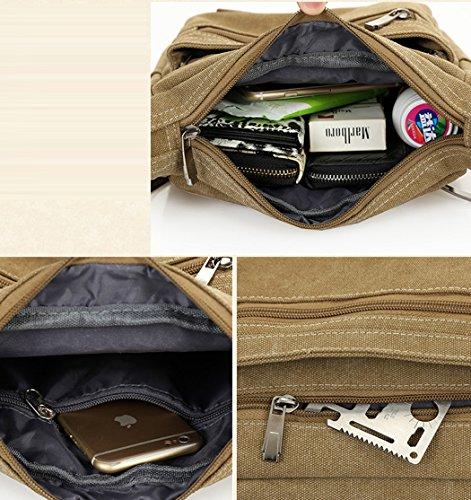 Tibes Canvas Umhängetasche beiläufiger Schulter-Beutel Schule Messenger Bag für Männer Khaki