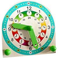 Hess 14659 - Juguete de madera (reloj de aprendizaje con niños de stands)
