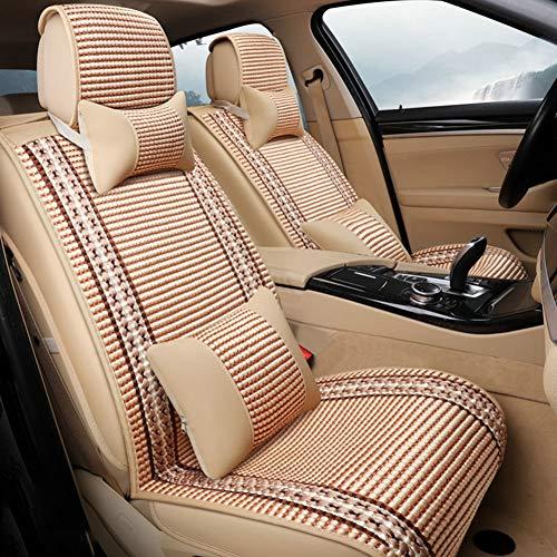 Hsdris Auto Sitzbezüge Set Sommer EIS Seide Material Atmungsaktiv Bequem Spleißen Design Schön Vier Farben optional (vollständiger Satz von fünf Sitzen),E -