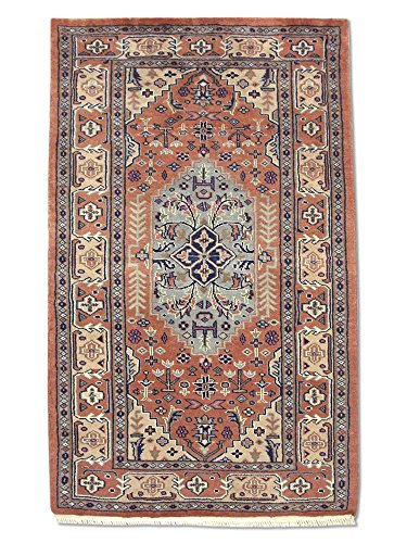 "Pak Persian Rugs Hecho a Mano Tradicional Persa Alfombra del Cáucaso, Lana, Rosa Oscuro, 78x 125cm, 2'7""x 4' 1'(pies)"
