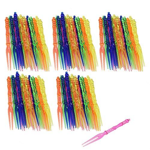 com-four® 100 Party Picker in bunten Farben, Cocktail-Spieße in Gabelform, 10,9cm (100 Stück - 10.9cm)