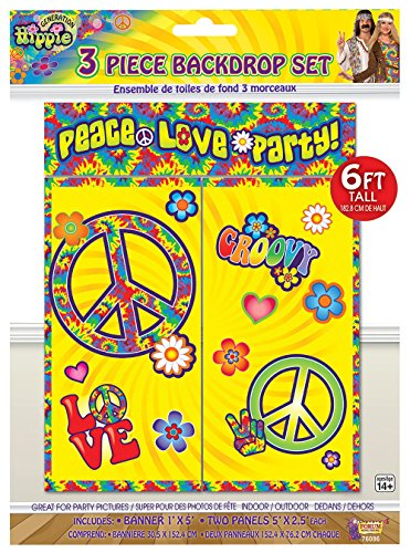 Forum Novelties X76086 Hippie - Set de telón de fondo para decoració