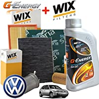 Kit tagliando olio motore G-ENERGY 5W30 5LT 4 FILTRI WIX VW GOLF 4 IV 1.9 85 KW