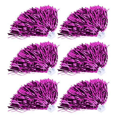 VGEBY Cheerleading Pom Poms Set Sport Phantasie Party Dance Zubehör 6 Stücke(Rose Rot)