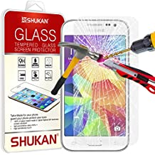 FOR Samsung Galaxy Core Prime - SHUKAN® Premium Tempered Glass Screen Protector Guard Ultra Thin Lightweight Rounded Edge 9H Hardness with Cleaning Cloth [TG906 - NDL6]