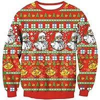 FOOBRTOPOO Novedad Navidad Mujeres Navidad Jumper Tops Invierno Cuello Redondo Sudadera Impreso Pullover Tops Manga Larga O-Cuello Sport Outwear Blusa -S (Color : Red1, tamaño : L)