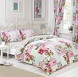 Signature Home Key to My Heart Floral Patchwork Bett in Eine Tasche mit Bettbezug/Kissen/Bettlaken und Vorhänge, King Size, Rosa