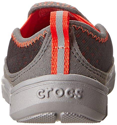 Crocs Duet Sport Slip on Sneaker PS, Scarpe per bambini, Unisex - bambino Grigio (Graphite/Flame)