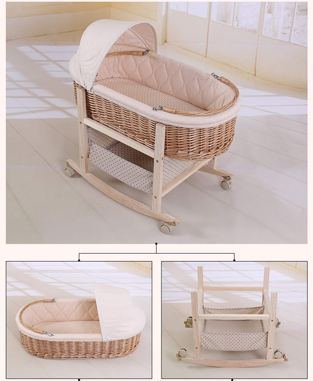 It Can Move Baby Cot, Multifunction Portable Cradle Portable Car Load Baby Travel Bed, 60 * 90CM (Size : 90 * 60CM) Zhao ♥ Product Name: Removable Baby Crib// Size: 60*90CM//Material: Wood; ♥Characteristics: Sturdy detachable beam, can be pushed and pushed double mode, mosquito net and sunshade, lower storage pocket, high quality colored cotton comfortable mattress, soft and smooth, giving baby comfort and enjoyment; ♥Bionic uterus design, give your baby enough safety, let the baby sleep sweetly; 3