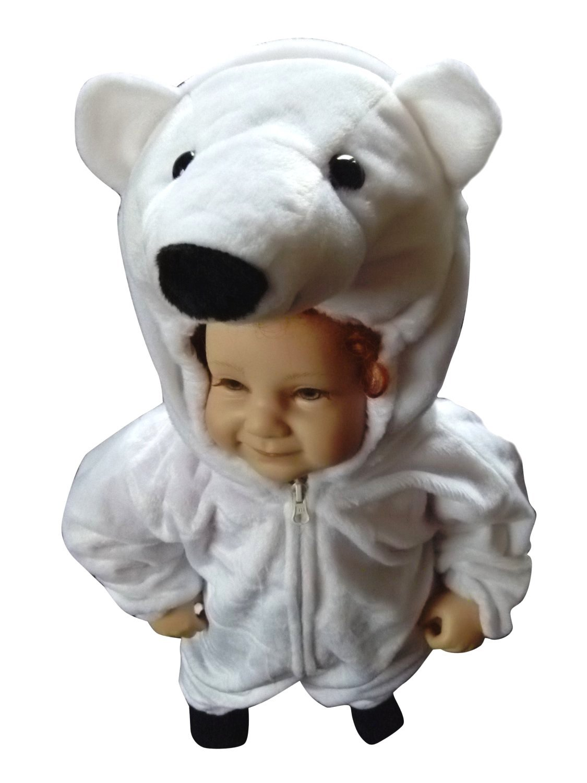 Ikumaal Eisbären-Kostüm, F24 Gr. 80-134, für Baby Klein-Kinder Kind-er Fasching Karneval