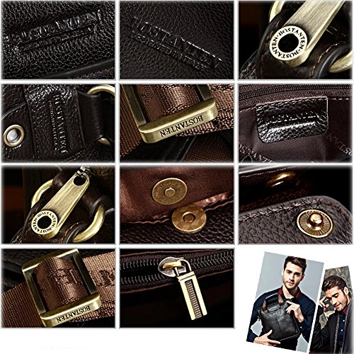 YAAGLE Herren Schultertasche schick Kuriertasche erste Schicht aus Leder Handtasche Business Taschen Aktentasche Reisetasche-black(small) black(small)