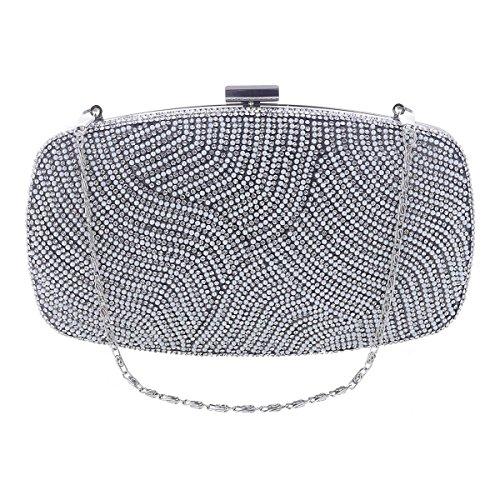 Damara Sac Pochette Femme de Soirée Fête Synthétique Raffiné Perle Strass Glitter Sac à Main Embrayage noir