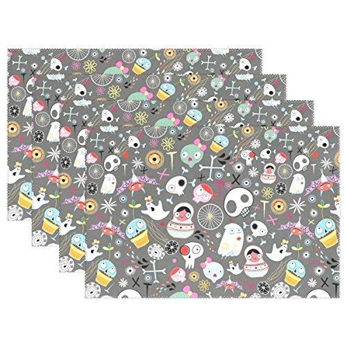 elqsmtir Halloween Dekoratives Blumenmuster Sugar Skulls Unheimliche Ghost Bat Knochen Spider Web hitzebeständig Tischsets schmutzabweisend Tisch Matten waschbar Essen, Matte für Home Küche Esstisch, Polyester, 1 Stück, 12X18inch