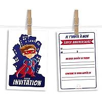 6 cartes et enveloppes invitation anniversaire | Anniversaire fille ou garçon | Thème Super-héros inspiré de Superman
