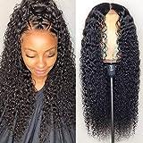 13×6 Perruque Femme Naturelle Brésilien 150% Densité SMHair Deep Curly Glueless Pre Plucked Délié Naturel Brésilien Virgin Wigs for Black Women 55.8CM=22inch