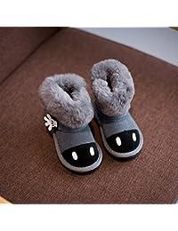 Los Niños Zapatos de Invierno Modelos Niños Y Niñas de Dibujos Animados de Cuero de Palma de Lana Cálida Zapatos de Algodón Botas de Nieve,Gris,24