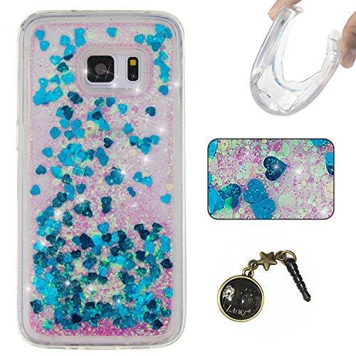 3D Étui soft shell coque pour Samsung Galaxy S7 TPU coque soft shell couvercle de batterie étui coque de protection eau avec Design boule de neige étoile en rose clair transparent +Bouchons de poussière (13UU)