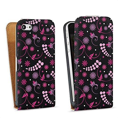 Apple iPhone 5s Housse Étui Protection Coque Petite fleur Fleurs Rose vif Sac Downflip blanc