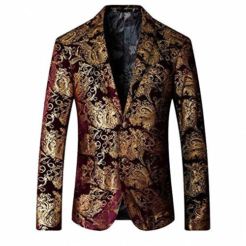 GOMY Slim Fit Herren Bunter Sakko Muster Casual Blazer Jacke Hochzeit Party (S, Rot)