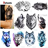 Konsait Loup tatouages temporaires pour femme homme, Faux Tatouages éphémères Tatoo Autocollant bras 21 * 15cm 9 Pièces
