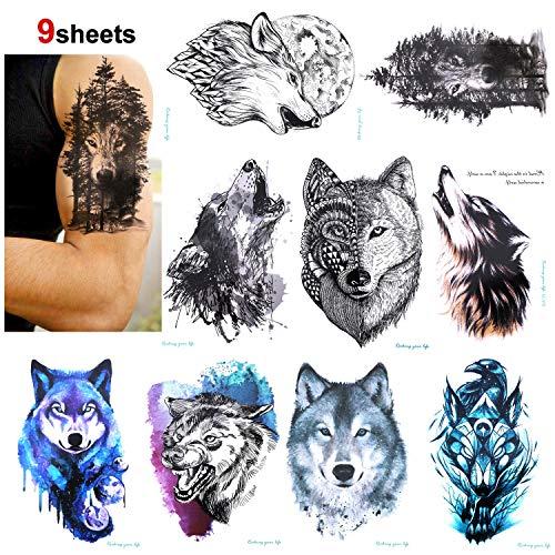 Konsait 9 Blätter Wolf Temporäre Tätowierung schwarz Tattoo Wasserdicht Klebe Tattoo Körperkunst Aufkleber Fake Arm Tattoos Sticker für männer Frauen, 21X15cm