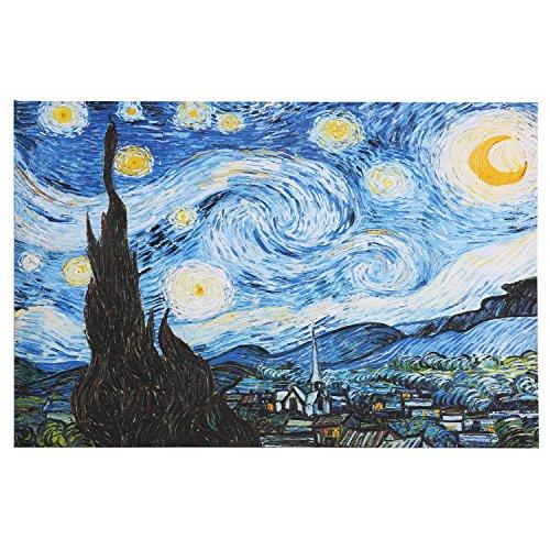 Fajerminart Gemälde Leinwanddrucke - Van Gogh Ölgemälde Replik Sternennacht Drucke Gemälde Wand Kunst Dekor Geeignet Wohnzimmer, Schlafzimmer, Büro Wandmalerei, Kein Rahmen (80x120cm) (Sternennacht ölgemälde)