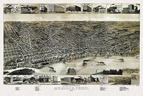 The Poster Corp Antique Map of Memphis Tennessee 1887 Shelby County Kunstdruck (60,96 x 91,44 cm) - 1887 Antique Map