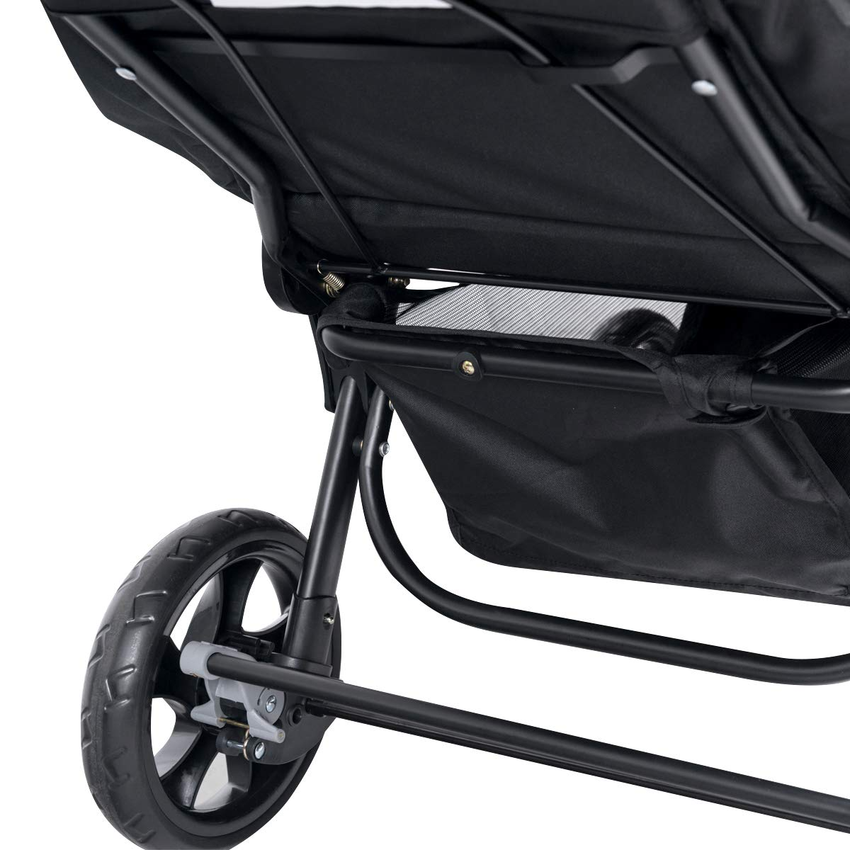 Going Shopping Detachable Canopy Foldable Pushchair for Traveling Hanging Out GYMAX Double Seat Stroller with Adjustable Push Handle and Foot Rest