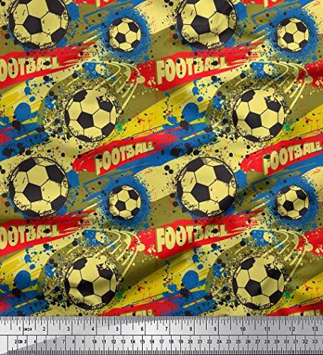 Soimoi Gelb Samt Stoff Pinselstrich und Fußball Sport Stoff drucken 1 Meter 58 Zoll breit