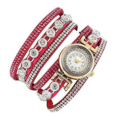 Minshao Mode Multi couches simili cuir Band Bracelet à quartz Strass Montre-bracelet pour coffret cadeau pour femme rose vif