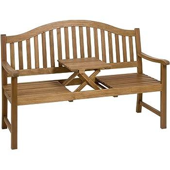 Gartenbank mit einklappbarer Tischablage aus Eukalyptusholz, Natur - Modell OPPLAND