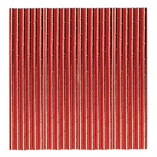Rouge Métallisé Papier pailles - Lot DE 48