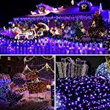 Solar Outdoor String Lights 100 LED 8 Modes , Satu Brown 39ft 12M Solar Christmas Tree Fairy Lights Valentines Decorations Purple Festive Lighting for Patio, Decoration Yard, Garden Path, Party