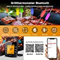 Tvird Funk Grillthermometer, Bluetooth Bratenthermometer, Digitales Wireless BBQ Thermometer mit 6 Sonden Fleischthermometer LCD Display Magnetisches Design Unterstützt IOS, Android