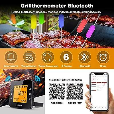 Tvird Funk Grillthermometer, Bluetooth Bratenthermometer, Digitales Wireless BBQ Thermometer mit 6 Sonden Fleischthermometer LCD Display Magnetisches Design Unterstützt IOS, Android