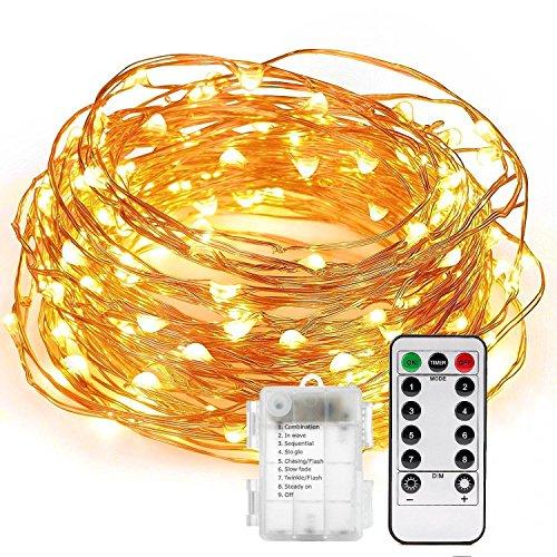 Stringa luci led 20m/66ft, uraqt 200 led stringa luminosa catena luminosa uso interno ed esterno per decorazioni festive e natale (bianco caldo)