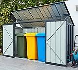 Globel Industries Metallgerätebox und Mülltonnenbox 7x3 Anthrazit // 236x101x132 cm (BxTxH) // Aufbewahrungsbox und Gartengerätebox