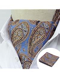 Conjunto de chalina y pañuelo para hombre de estilo Ascot italiano de algodón, ideal para bodas - Varios colores y diseños