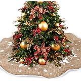 Christmas Tree Skirts 122cm Vintage Jute Burlap Skirt Xmas Decoration With Snowflake