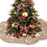 Alfombra para árbol de Navidad, con diseño de muñeco de nieve, 77cm