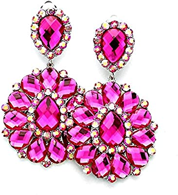 Statement Luxus holgada Clips para las orejas Clip Clips pendientes de acrílico rosa fucsia cristal y Aurora Borealis rosa 8,3 cm de largo
