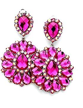 Schmuckanthony Boho Lange Silber Ohrclips Klips Clip On Clips Ohrringe Acryl Pink Fuchsia und Kristall Aurora...