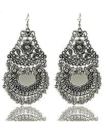 Aabhu Afghani Designer Vintage Oxidised German Silver Tribal Hoop Dangler Hanging Mirror Chandbali Earring Antique Jewellery for Girls & Women