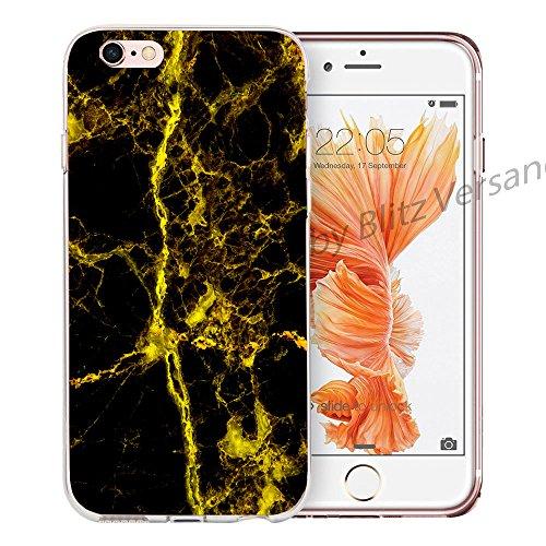Blitz® MARBRE motifs housse de protection transparent TPE caricature bande iPhone Or et marbre noir M10 iPhone 7PLUS Golden Line M15