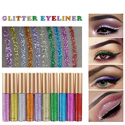 ILOVEDIY Glitter Paillette Yeux Eyeliner Liquide Waterproof Eyeshadow - 8 Couleurs à Choisir (10#)
