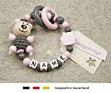 Baby Greifling Beißring geschlossen mit Namen | individuelles Holz Lernspielzeug als Geschenk zur Geburt & Taufe | Mädchen Motiv Bär und Eule in rosa