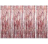 Tian 4 Pack Oro rosa Cortina de Oropel Metálica Foil Fringe Cortinas Metálicas Tinsel Cortinas Borla Telón de fondo Puerta Windows Decoraciones para la fiesta de cumpleaños boda(3 pies x 8 pies)