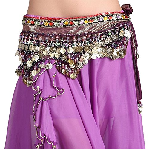 3 Rangées Danse du ventre costume 228 Coins Hip écharpe Ceinture Colorful Gem Light Blue