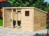 PROMADINO Hundezwinger XXL mit Pultdach 543 x 226 x 192 cm Hundehütte 510060 Zwinger